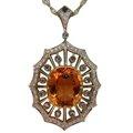 <b>Imperial</b> <b>Topaz</b>, Moonstone, & Diamond Pendant in Platinum