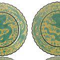 A pair <b>of</b> yellow-ground green-enamelled 'Dragon' saucer dishes, China, <b>Guangxu</b> <b>six</b> <b>character</b> <b>marks</b> <b>and</b> <b>period</b>