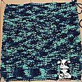 Plaid bleu/vert - carré n°65 - côtes anglaises envers