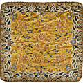 An <b>imperial</b> <b>yellow</b> <b>silk</b> embroidered throne cushion cover with 'Nine Dragons' decoration. 19th century