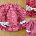 Bonnet Kids Tricots en Merinos cochenille et fraise