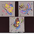 Taleaux Papillons Chinois 3 pièces 10x10cms