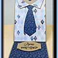 Carte chevalet chemise-<b>cravate</b>