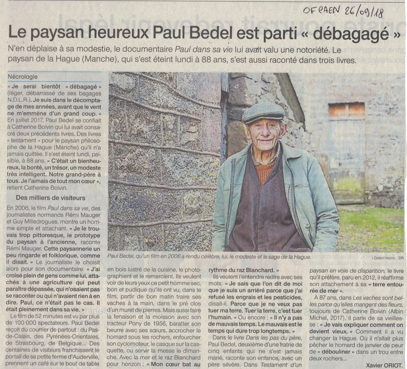 Paul BEDEL, le paysan de la Hague est mort