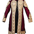 A magnificent Royal coat embroidered with <b>Basra</b> <b>seed</b> <b>pearls</b>, India, 19th century