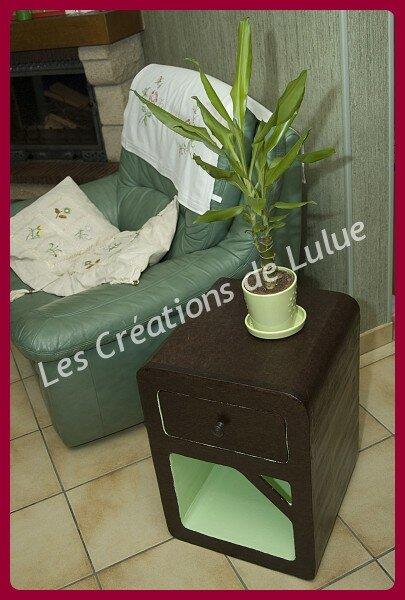 Meuble en carton Vert anis/Chocolat