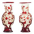 Pair of Chinese Red Overlay Glass Vases, 18th-19th Century.