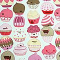 Tablier de cuisine aux cupcakes joyeux