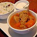 Ragoût de porc à l'indienne et riz à la noix de coco, sans gluten et sans lactose