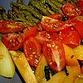 Salade d'asperges vertes tomates abricots & basilic, sauce jus d'orange et vinaigre balsamique