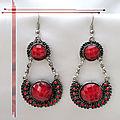 Boucles d'Oreilles Style Tibétain Kali Perle Strass Rouge <b>Argent</b> du <b>Tibet</b>
