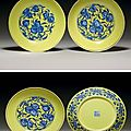 A very rare pair of large yellow-ground <b>blue</b> and white dishes, Qianlong seal marks in underglaze <b>blue</b> and of the period (1736-17