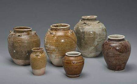 A group of six glazed pottery jars. Vietnam, late 15th/early 16t