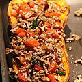 Courge butternut farcie au boeuf, cranberries et noix