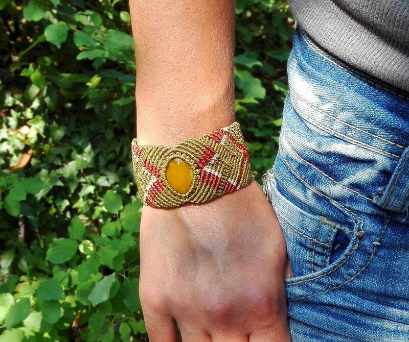Bracelet macramé large agate jaune