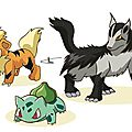 Fan art pokemon : bulbizarre, caninos et grahyena