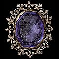Gold, silver, and diamond brooch, set with an <b>octagonal</b> <b>sapphire</b> engraved with the arms of Johann Hugo von Orsbeck (1634-1711)