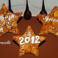 Gâteau bonne année nougatine caramel et chocolat détail nougatine