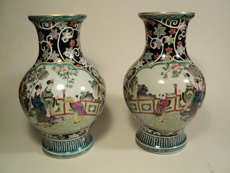Vases Porcelaine de Samson Paris Décor Chine Style Famille Verte Début XXème