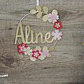 Décoration murale <b>chambre</b> de <b>bébé</b>, le cercle prénom thème fleur