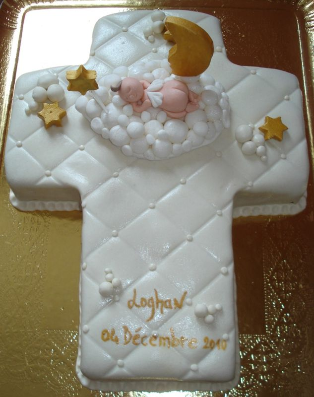Gâteau baptême croix