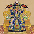 A large imperial portrait of Consort Chunhui by Giuseppe Castiglione and others, title calligraphy by the <b>Qianlong</b> <b>Emperor</b>