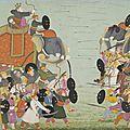 Illustration from a Bhagavata Purana Series, Book 10: <b>Battle</b> <b>Between</b> <b>Balarama</b> <b>and</b> <b>Jarasandha</b>, ca. 1760–65, Mughal period