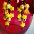 VENDUES - Origami - <b>Boucles</b> <b>d</b>'<b>oreilles</b> Pluie <b>d</b>'étoiles jaunes