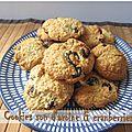 Cookies aux cranberries et son d'avoine