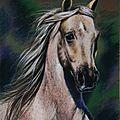 Cheval palomino pastel à l'huile Ghislaine Letourneur collect. personnelle - Palomino horse painting