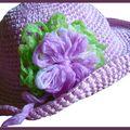 Chapeau rose fleur mauve