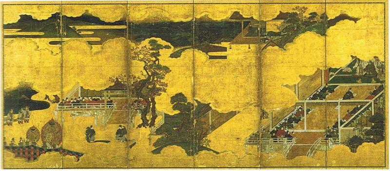 05-Genji monogatari zu Byôbu, un des deux paravents illustrant six scènes du Dit du Genji, attribuée à Tosa Mitsumoto (XVIè), en fait début XVIIème, H149,8cm, L349,6cm, n°1
