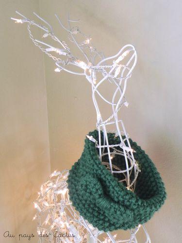 Snood tricot vert noeud Au pays des Cactus