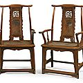 A rare and exceptional pair of huanghuali and <b>huamu</b> 'fu' character yokeback armchairs (sichutouguanmaoyi), Ming dynasty17