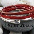 Je vois rouge avec cette météo chaotique, alors je vous propose ce <b>bracelet</b> en <b>cuir</b> rouge, satin de soie rouge...