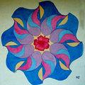 <b>Tableau</b> de <b>sable</b> Kadiéloscope bleu à l'hibiscus.