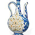 A <b>Safavid</b> soft-paste porcelain ewer, Kirman, South East Iran, mid 17th century