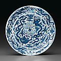 A large blue and white '<b>dragon</b>' <b>dish</b>, Wanli six-character mark in underglaze blue within a double-circle and of the period