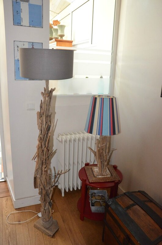 Deux lampadaires d 39 une future s rie d co nature for Deco nature creation bois flotte