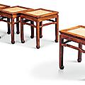 A rare set of four rectangular huanghuali stools, changfangdeng, <b>Late</b> <b>Ming</b>-<b>Early</b> <b>Qing</b> <b>dynasty</b>, 17th-18th century
