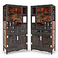 A very fine and rare pair of carved zitan and lacquer-decorated cabinets, <b>19th</b> <b>century</b>
