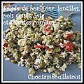 Salade de boulgour, lentilles, pois cassés, tomates confites et feta