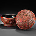 A rare large cinnabar lacquer 'Hundred boys, Xiwangmu and Daoist <b>Immortals</b>' box and cover, Late Ming Dynasty