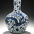 A magnificent blue and white 'dragon' vase, tianqiuping, qing dynasty, yongzheng period (1723-1735)