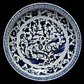 Dish, porcelain painted in underglaze blue with peafowls and plants, China, Yuan dynasty, <b>mid</b> <b>14th</b> <b>century</b>