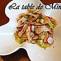 Salade aux radis rouges, crevettes et avocat
