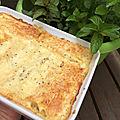 Plat complet : cannellonis poulet, chèvre frais et pignons de pins