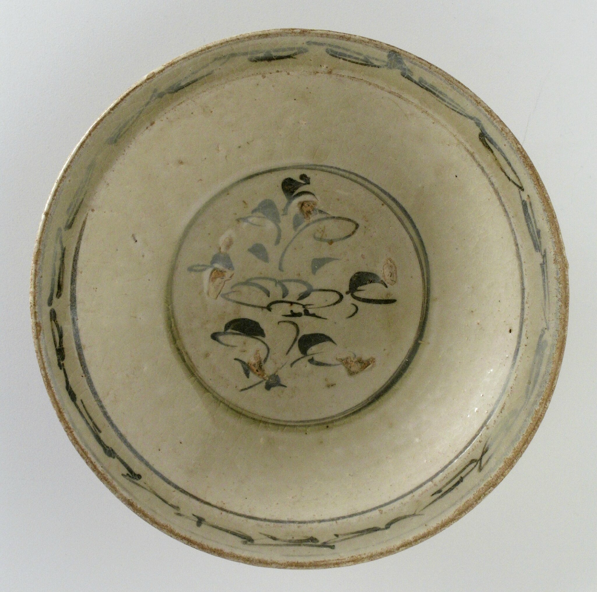 Dish with Cursive Floral Spray, Vietnam, late 14th century