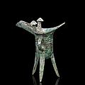 Verseuse tripode en bronze, jue, chine, fin de la dynastie shang, xiième siècle av. j.c.
