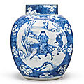 A superb blue and white '<b>Winter</b>' ovoid jar and cover, Qing Dynasty, Kangxi Period (1662-1722)